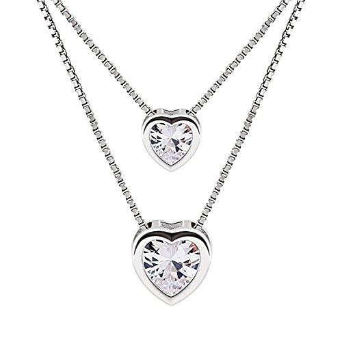 B.Catcher Doppelkette Herz Damen Halskette Anhänger 925 Sterling Silber Zirkonia Schmuck Geschenk für Damen/Frau/Freundin/Tochter