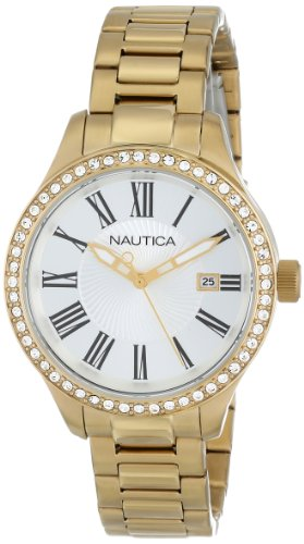 NAUTICA WOMEN'S 36MM GOLD-TONE STEEL BRACELET & CASE QUARTZ WATCH N16661M