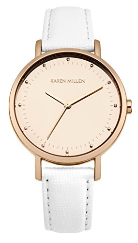Karen Millen Women's Quartz Watch with Rose Gold Dial Analogue Display and White Leather Strap KM139WRG