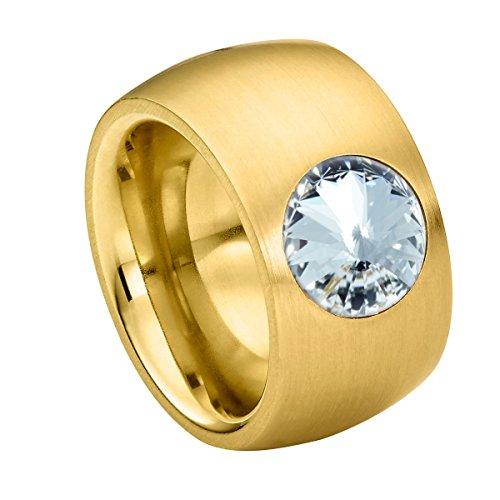 Heideman Ring Damen Coma 14 aus Edelstahl Gold farbend matt Damenring für Frauen mit Swarovski Stein Kristall Weiss im Fantasie Edelsteinschliff 10mm