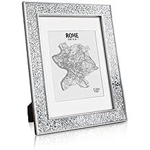 Marco A4 brillante - Mosaico de cristal - marcos de fotos decorativos A4 y con paspartú para fotos de 20x15 cm - Frente de VIDRIO - Ancho de 4 cm - Plata Brillante