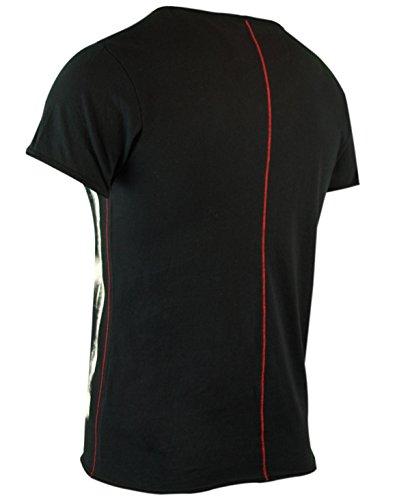 trueprodigy casuale uomo maglietta motivo stampa, abbigliamento urban moda girocollo (manica corta & slim fit classic), t-shirt moda vestiti colore: nero 1062106-2999 Black