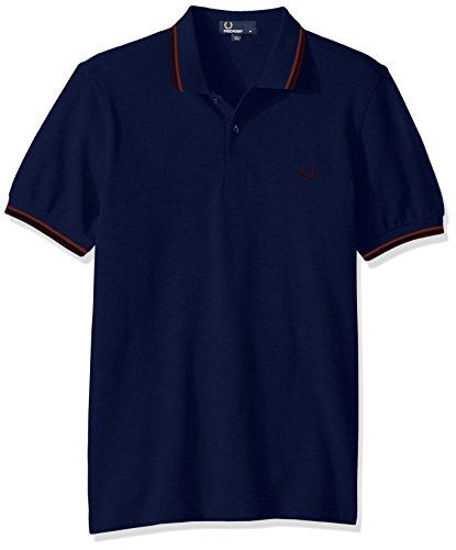 Fred Perry Herren Poloshirt mit Doppelspitzen Gr. L, French Navy/Bronze/Port -