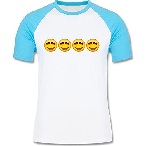 Shirtracer Comic Shirts - Verliebter Emoji Deutschland - Herren Baseball  Shirt Weiß/Türkis