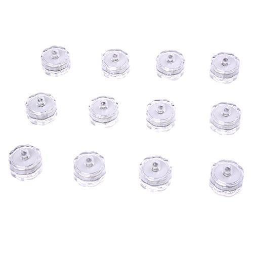 SODIAL(R)Luz de boda sumergible LED Paquete impermeable de 12 colores Blanco