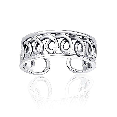 Anello da piede argento sterling 925 motivo a spirale
