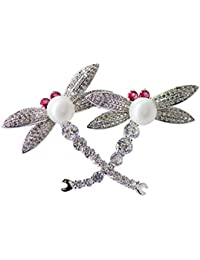 Dainika Aabharanam | Beautifully Crafted Micro-Pavé Cubic Zircon Resin Pearl Dragonfly Design Silver Colour Brooch...