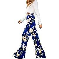 Moollyfox Donne Casuale Stampa Floreale Allentati Pantaloni Blu Eleganti Confortevole Sportivi Palazzo Pantaloni Come Immagine Xl