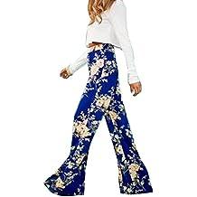 Moollyfox Mujer Pantalones Holgados Estampado Floral Azul Palazzo De Pierna Ancha Bohemio Gitano Hippie Ancho Pierna Como Imagen L Como Imagen