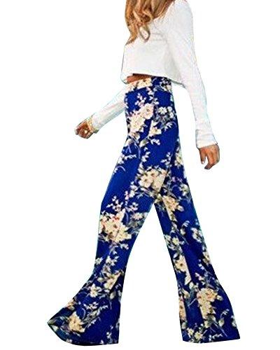 Moollyfox Donne Casuale Stampa Floreale Allentati Pantaloni Blu Eleganti Confortevole Sportivi Palazzo Pantaloni Come Immagine M