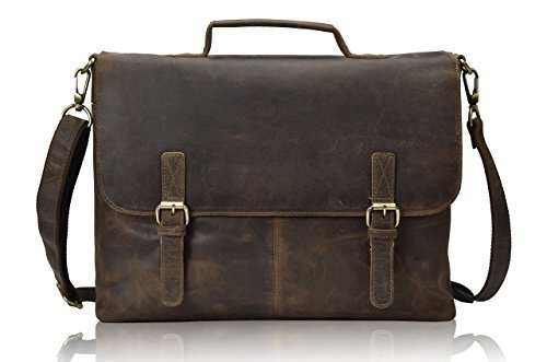 Tony 's Bag 1 38,1 cm Retro Buffalo Hunter Leder Laptop Messenger Bag Büro Aktentasche College Tasche (Hartmann Leder)