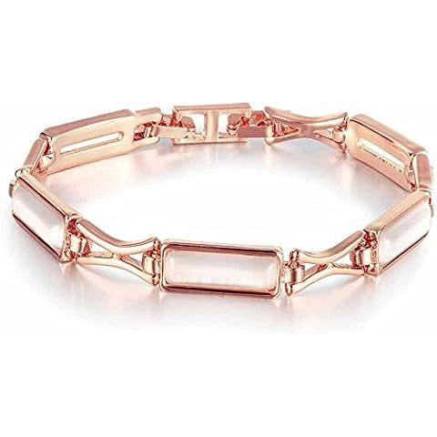 Braccialetto per charm snodato Opale Placcato oro giallo 18K carati Gioiello di alta qualità opale rettangolo regolabile Rosa