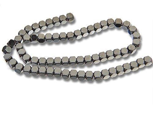 folienbeschichtete® Edelsteine, Halbedelstein Natursteine Cube Perlen für Schmuckherstellung, Black Hematite, 3 mm