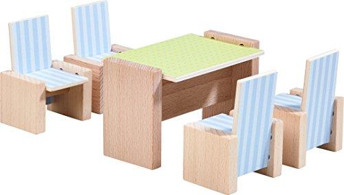 Französisch Esszimmer-möbel (HABA 303839 - Little Friends - Puppenhaus-Möbel Esszimmer | Mit Tisch und 4 Stühlen | Passend für alle Little Friends-Puppenhäuser)