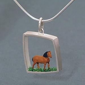 Silberanhänger groß, Pferd