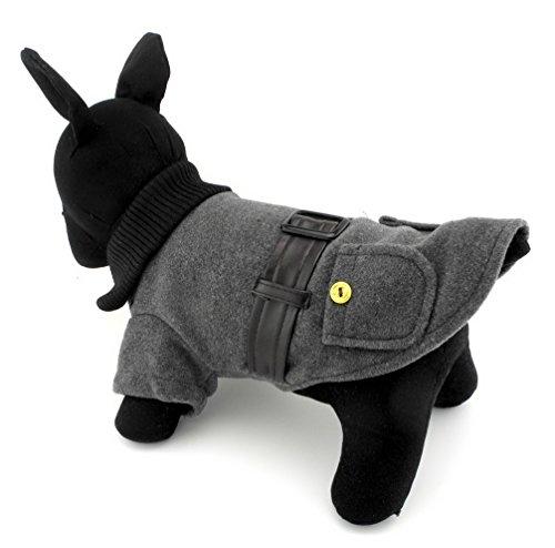 ranphy Kleiner Hund Katze aus Wolle Jacke Boy Winter Herbst Pet Trench Coat Kunstleder Gürtel Chihuahua Kleidung - Trench-gürtel