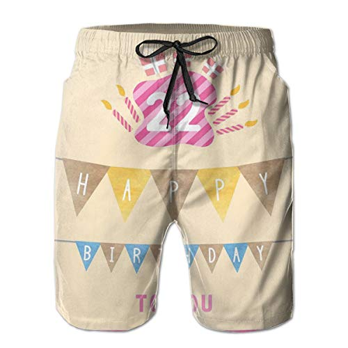 jiger Mens Summer Cool Quick Dry Board Shorts Bathing Suit, Happy Birthday to You with Candies Cake Candles Cute Print Cream Hot Pink M,Beach Shorts Swim Trunks M (Happy Birthday Suit)