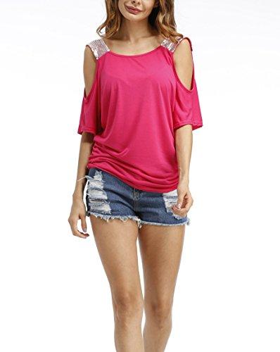 IHRKleid Damen Pailletten Schulterfrei Tops Sommer Casual kurzarm T-Shirt Loose Bluse Roserot