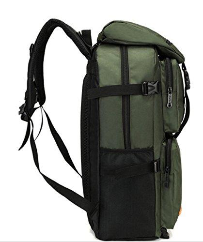 BULAGE Bag Europa Und Amerika Leinwand Männer Und Frauen Natur Reisen Rucksack Große Kapazität Schultern Trekking Freizeit Touristik Urlaub Camping Green