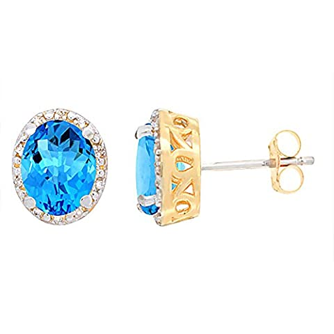 9ct Yellow Gold Diamond Natural Swiss Blue Topaz Earrings Oval