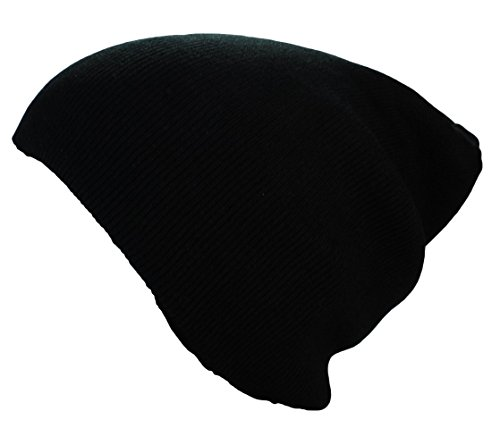 Bonnet XXL Long/Basic Flap en Noir Bonnet Femmes/Homme Bonnets d'Hiver tricoté in Noir, rouge, gris, vert, olive, marron, bleu