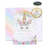 AMZTM Magische Einhorn Party-Zubehör Einladungen mit Umschlägen für die Kindergeburtstag Mädchen Baby Shower 20 Stück Einladungskarte (Rainbow)