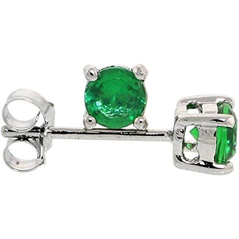 In argento Sterling, colore: verde smeraldo, 1/4 di carato, taglio a brillante, 4 mm)-Set orecchini a perno, zirconia cubica, placcati al rodio