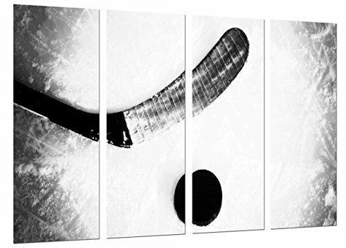 Cuadro Moderno Fotografico Deporte Hockey, Palo Sobre Hielo, Blanco y Negro, 131 x 63 cm, ref. 27038