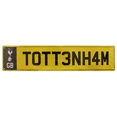 Tottenham Hotspur FC Official Novelty Number Plate Metal Sign  One Size   Yellow