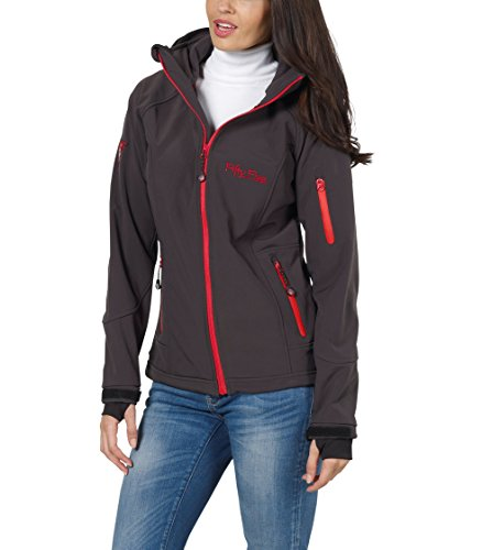 Fifty Five Damen Jacke Softshelljacke Merrit, Grau (Anthracite/Red 005), 40