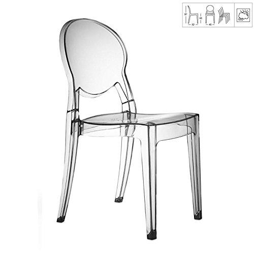 designement Elsa Chaise Design Polycarbonate Transparent 45x52x87 cm