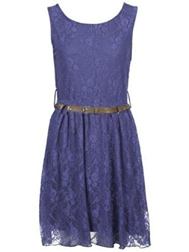 Momo Fashions Damen Cocktailkleid mit Taillengürtel und Faltenrock, ärmellos, Spitze Skater Kleid, Gr. 34-40 (UK 8-14) Blau - Navy