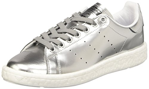 Adidas Stan Smith Boost, Sneaker Bas Cou Femme, Argent (Silver Met./Silver Met./Ftwr White), 37 1/3 EU