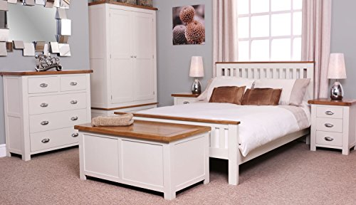 Ascot Oak 3 Drawer Bedside Table Oak And Stone White Painted Finish Wooden Bedroom Furniture