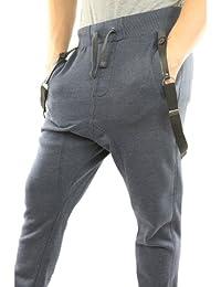 Solamode - Pantalon Sarouel avec bretelles - Cabaneli- Unisexe - Marine chiné
