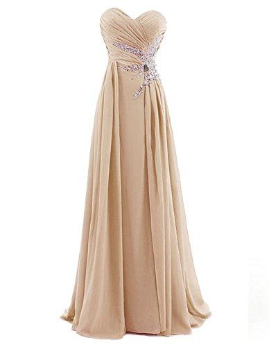 Dresstells, Robe de soirée Robe de cérémonie Robe de gala mousseline longueur ras du sol avec paillettes Champagne