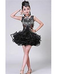 041bc785a15f peiwen i Costumi di Danza Latina Nuove Ragazze Latino Vestito da Ballo Nero  Lucente