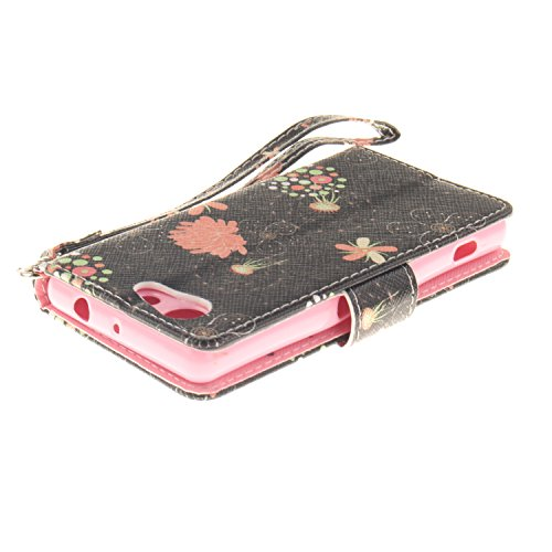 ISAKEN Accessories Cover Per Sony Xperia Z3 Mini PU Pelle Portafoglio Custodia, Elegante borsa Drawing Pattern Design in Sintetica Ecopelle Libro Bookstyle Wallet Flip Portafoglio Case Cover Anti Slip glitter fiori rosa