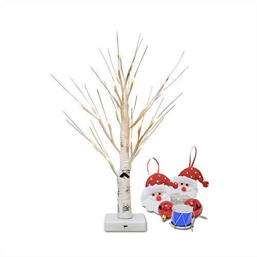 OBELON Pre-Beleuchteten Zweig Birke Bäume 32LEDs warmweiß leuchtet Tabletop Branch Silber Birken mit Licht 1,8 ft hoch für Weihnachten Ostern Halloween Hochzeit Party Urlaub Dekoration-Weißbirke