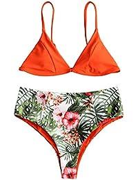 Weant Maillots de bain Femme Deux Pièces Push Up Grande Taille Rembourré  Sexy Impression Fleur Tankini Bikini Bandeau Trikini Maillots… 4bd65c15090