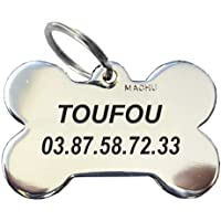 MACHU Médaille Chien Mini Os chromé 2,2 cm X1,5 cm - Personnalisable -Convient à Mini Chien/Toy - Gravure Profonde et Soignée, Colorée Peinture Noire. Gravure Offerte.
