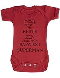 TRS - Reste Zen Papa est Superman Body bébé 100% Coton