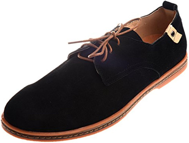 SODIAL (R) Wildleder im europaeischen Stil Herren Oxfords Freizeit Schuhe   Schwarz