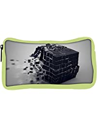 Snoogg Eco Friendly Canvas Exploding Cube Designer Student Pen Pencil Case Coin Purse Pouch Cosmetic Makeup Bag