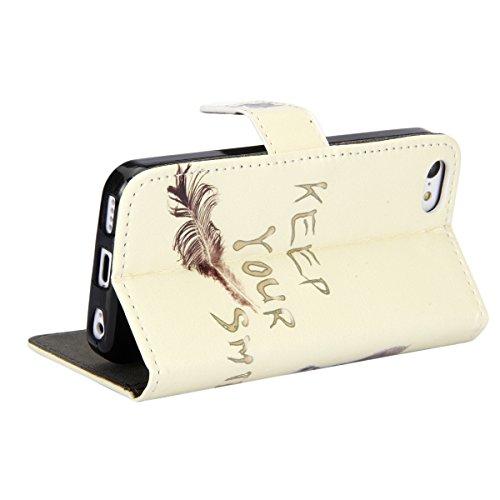 Etsue für Apple iPhone 5C schwarz Ledertasche Leder Hülle Schutzhülle Muster, Elegant Bunte Retro Painted Bookstyle Wallet Case Flip Tasche Brieftasche Leder Case Hülle mit Magnetverschluss Standfunkt niedlich Katze