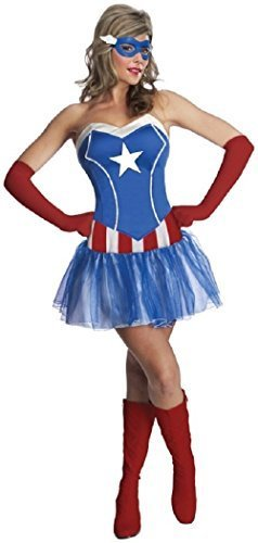 Damen Sexy Marvel Avengers Captain America SUPERHELDEN Comic büchertag Woche Tutu Halloween Film Kostüm Kleid Outfit UK 6-18 - Blau, Blau, UK 8-10