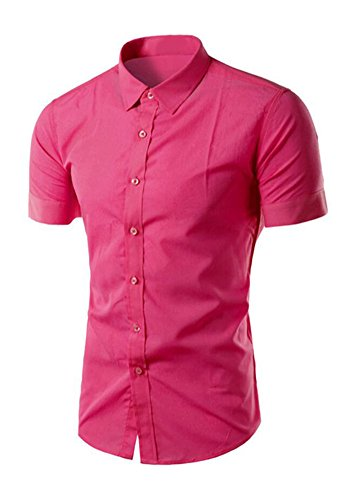 dooxiundi mens faltenfreie kurzärmelige hemd (2XL, rose red) (Shirt Manschette Französisch Red)