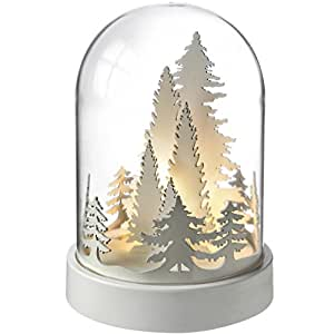 WeRChristmas Pre-Lit Trees Bell Jar Warm LED Christmas Decoration, Wood, 18.5 cm - White