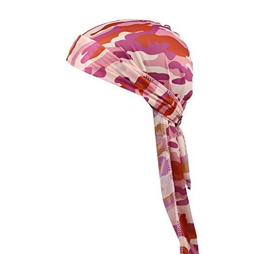 Fuibo Turban für Herren und Damen, Long Tail Satin Print Turban Hijab Cap Haarschmuck Chemo Hut Headwear Muslim Kopftuch Turban Mütze Beanie (Purple) -