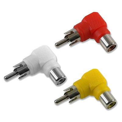 RCA Phono Right Angle 90 Degree Plug Socket Adaptors - Red, White, Yellow